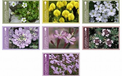 Serie de sellos con flores endémicas de Gibraltar