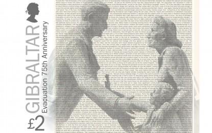 Texto completo del sello conmemorativo del 75º aniversario de la evacuación de Gibraltar