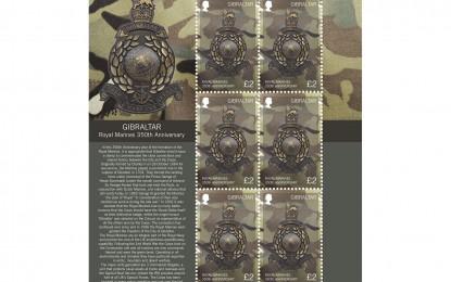 La Oficina Filatélica de Gibraltar conmemora el 350º aniversario de los Royal Marines