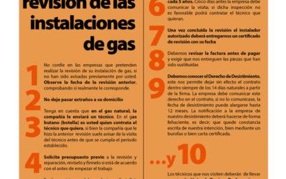 Consumo inicia una campaña preventiva sobre revisión de instalaciones de gas con 1.500 folletos