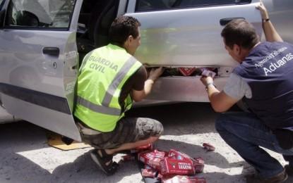 Detenidas por contrabando de tabaco dos personas con 7.900 cajetillas en San Roque, aunque de La Línea