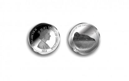 """Nueva moneda de plata de veinte libras del """"Peñón de Gibraltar"""""""