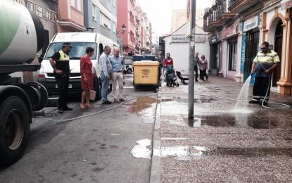 Limpieza integral de la calle San Pablo en víspera de la incorporación de nuevos trabajadores para este departamento