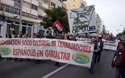 Ascteg y los parados linenses, en la marcha por la dignidad en Cádiz
