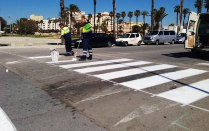 Iniciados los trabajos de pintados de pasos de cebra y señalizaciones horizontales en distintos puntos de la ciudad
