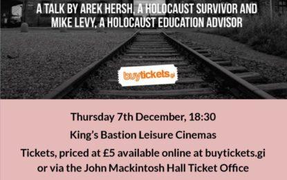 El Ministerio de Igualdad de Gibraltar presenta la charla de Auschwitz Survivor