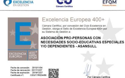 ASANSULL renueva su sello de Excelencia Europea 400+ EFQM