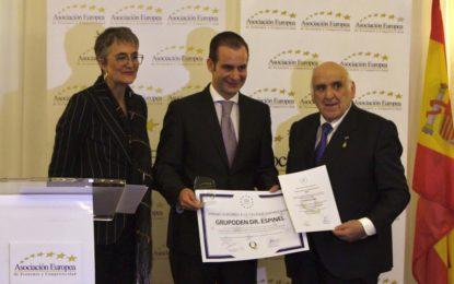 Nueva distinción para el doctor Antonio Sanchez Espinel por parte de la Asociación Europea de Economía y Calidad