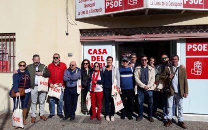 Los socialistas linenses reclaman el voto para el PSOE durante un reparto informativo en el mercado
