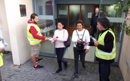 El Comité Sindical Interregional del Sur ha distribuido información en la frontera con Gibraltar a los trabajadores transfronterizos