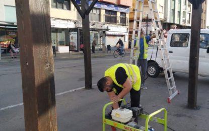 Iniciados los trabajos de sustitución de la marquesina de la parada de taxis de la Plaza de la Constitución