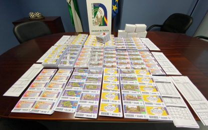 La Unidad de Policía Adscrita interviene más de 50.000 boletos de lotería ilegal en Málaga y Cádiz por valor de 83.000 euros