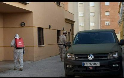 La Infantería de Marina realizó este fin de semana labores de desinfección y vigilancia en La Línea