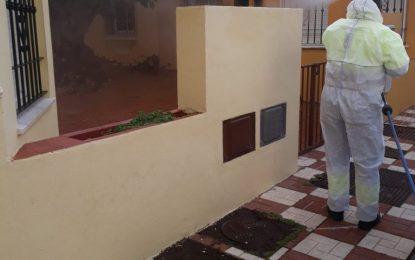 Los trabajos de desinfección se han centrado hoy nuevamente en zonas interiores y exteriores de la frontera y sus inmediaciones