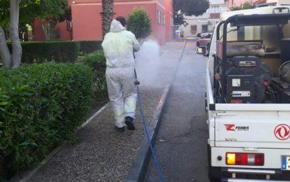 Los trabajos de desinfección se han realizado hoy en la frontera y exteriores de la Comisaría y la Jefatura de la Policía Local