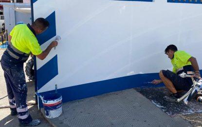 Mantenimiento Urbano ejecuta el pintado de la jefatura de Policía Local