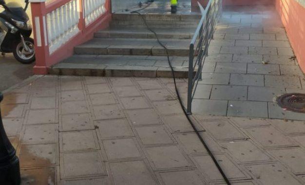Limpieza ha proseguido hoy con los trabajos de desinfección en diferentes zonas de la ciudad