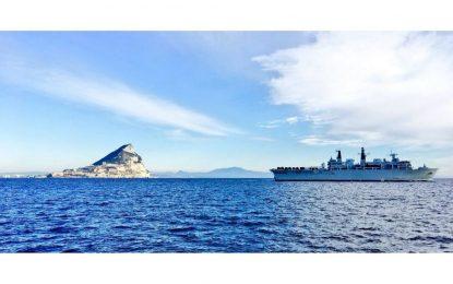 El HMS Albion llega a Gibraltar junto a HMS Dragon y RFA Lyme Bay para un apoyo logístico programado