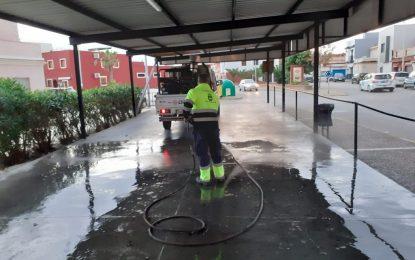 Los trabajos de desinfección  de Limpieza se han centrado hoy en la barriada de San Bernardo