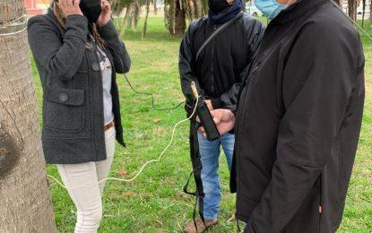 Raquel Ñeco supervisa los trabajos de saneamiento y control de los dragos del parque Princesa Sofía ante posibles plagas