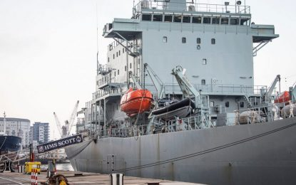 El buque oceanográfico HMS Scott regresa al Peñón para recibir apoyo logístico de rutina