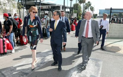Joseph García y la Ministra para Europa de RU, Wendy Morton, analizan propuestas para aumentar la resiliencia en el puerto y la frontera ante una posible falta de acuerdo sobre la relación de Gibraltar y la UE