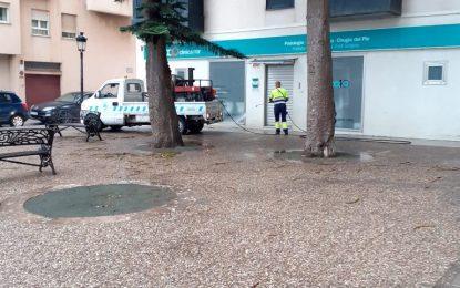 Los trabajos de desinfección de Limpieza se han centrado en la zona de Mondejar y el centro