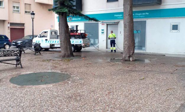 Los trabajos de desinfección de Limpieza se han desarrollado en La Velada y varias calles del centro